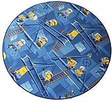 Kinderteppich Minions rund - Farbe wählbar: Blau,