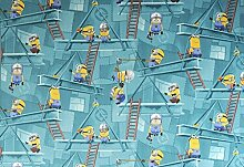 Kinderteppich Minions Türkis - Spielteppich versandkostenfrei schadstoffgeprüft pflegeleicht antistatisch robust strapazierfähig Kinderzimmer Spielzimmer Kids Motiv Zeichentrick Comic nach Maß , Größe Auswählen:140 x 200 cm