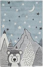 Kinderteppich mit grauem und blauem Bärenmotiv