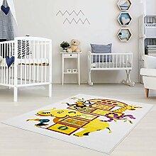 Kinderteppich Moda Tiere Hüpfteppich Spielteppich creme gelb grün Himmel und Hölle Kinderzimmer 140x200 cm