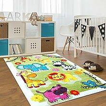 Kinderteppich Moda Wiese Bunt Grün Gelb Türkis Kinderzimmer Öko Tex 160x225 cm