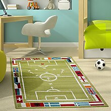 Kinderteppich Modern Kinderzimmer Teppich Fußballplatz Für Jungen in Grün Weiß, Größe:80x150 cm