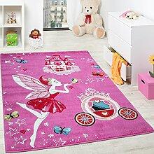 Kinderteppich Pink Zauberfee Prinzessin Kinder Teppiche für Mädchen Fuchsia Pink, Grösse:160x220 cm