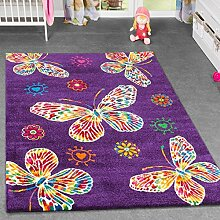 Kinderteppich Schmetterling Design Kinderzimmer Spielzimmer Multicolour In Lila, Größe:160x230 cm