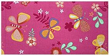 Kinderteppich Schmetterling Teppich Papillon Butterfly Spielteppich in 2 Farben , Größe:120x200 cm, Farbe:pink