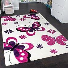Kinderteppich Schmetterling Trendiger Teppich Butterfly Design Creme Pink, Grösse:80x150 cm
