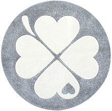 KINDERTEPPICH , Silber, Weiß , Blätter , rund ,