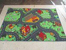 Kinderteppich Spiel Teppich Teppich Farm Dorf Bauernhof 133 x 190 cm