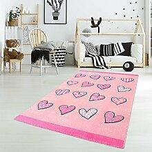 Kinderteppich Spielteppich Flachflor Junior mit Herzen-Motiv in Rosa, Pink für Kinderzimmer: Größe 133x190 cm