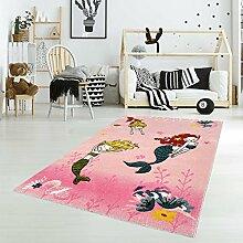 Kinderteppich Spielteppich Flachflor Junior mit Meerjungfrau-Motiv in Rosa/ Pink für Kinderzimmer: Größe 133x190 cm