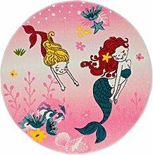 Kinderteppich Spielteppich Flachflor Junior mit Meerjungfrau-Motiv in Rosa/ Pink für Kinderzimmer: Größe 133 cm Rund