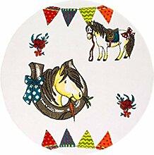 Kinderteppich Spielteppich Flachflor Junior mit Pferd/Hufeisen-Motiv in Creme/ Multi für Kinderzimmer: Größe 133 cm Rund