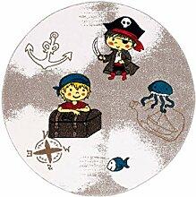 Kinderteppich Spielteppich Flachflor Junior mit Piraten-Motiv in Braun für Kinderzimmer: Größe 133 cm Rund