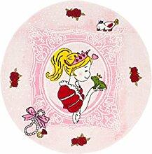 Kinderteppich Spielteppich Flachflor Junior mit Prinzessin/Froschkönig-Motiv in Rosa/ Pink für Kinderzimmer: Größe 133 cm Rund