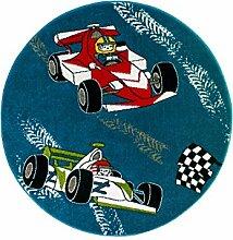 Kinderteppich Spielteppich Flachflor Junior mit Rennauto/ Rennfahrer-Motiv in Blau für Kinderzimmer: Größe 133 cm Rund