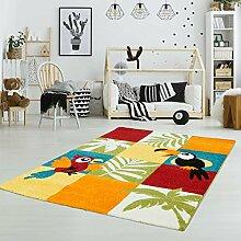 Kinderteppich Spielteppich Flachflor Kurzflor Tier-Design Tucan Vogel Papagei Soft Bunt Kinderzimmer Größe 120/170 cm
