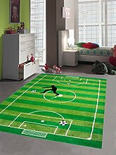 Kinderteppich Spielteppich Jungen Kinderzimmer Teppich Fußball grün Größe 120x170 cm