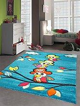 Kinderteppich Spielteppich Kinderzimmer Mädchen und Jungen Teppich Papagei Pirat türkis Größe 80x150 cm