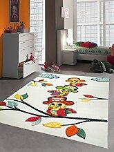 Kinderteppich Spielteppich Kinderzimmer Mädchen und Jungen Teppich Papagei Pirat weiss Größe 160x230 cm