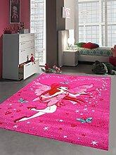 Kinderteppich Spielteppich Kinderzimmer Mädchen Zauberfee Fee Tinkerbell Pink Größe 120 cm Rund