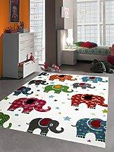 Kinderteppich Spielteppich Kinderzimmer Teppich Babyteppich bunte Elefanten rot türkis grün weiss Größe 160x230 cm