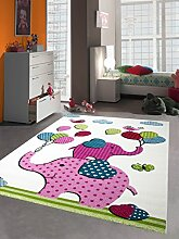 Kinderteppich Spielteppich Kinderzimmer Teppich Babyteppich bunte Elefanten pink rosa türkis grün Größe 140x200 cm