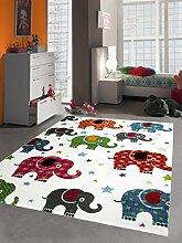 Kinderteppich Spielteppich Kinderzimmer Teppich bunte Elefanten Multicolour Creme Rot Grau Türkis Pink Grün Orange Schwarz Größe 80x150 cm