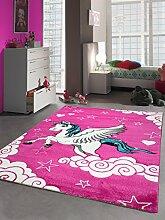 Kinderteppich Spielteppich Kinderzimmer Teppich Einhorn Design mit Konturenschnitt Pink Creme Türkis Größe 160x230 cm