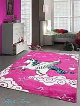 Kinderteppich Spielteppich Kinderzimmer Teppich Einhorn Design mit Konturenschnitt Pink Creme Türkis Größe 120 cm Rund