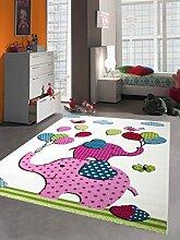 Kinderteppich Spielteppich Kinderzimmer Teppich Elefanten Design Creme Rosa Pink Grün Türkis Schwarz Größe 120 cm Rund