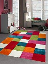 Kinderteppich Spielteppich Kinderzimmer Teppich Karo bunt türkis orange weiss rot pink Größe 200 x 290 cm