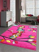 Kinderteppich Spielteppich Kinderzimmer Teppich niedliche bunte Tiere Papagei Design mit Konturenschnitt Pink Türkis Rot Gelb Grün Orange Creme Schwarz Größe 160x230 cm