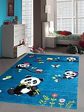 Kinderteppich Spielteppich Kinderzimmer Teppich niedliche Bunte Tiere mit Konturenschnitt Panda Design mit Eulen Schmetterlinge und Vögeln Türkis Cream Pink Grau Grün Bunt Größe 160x230 cm