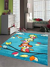 Kinderteppich Spielteppich Kinderzimmer Teppich niedliche bunte Tiere Papagei Design mit Konturenschnitt Türkis Rot Orange Gelb Grün Pink Creme Schwarz Größe 80x150 cm