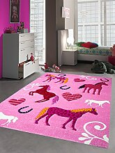 Kinderteppich Spielteppich Kinderzimmer Teppich Pferde pink rosa Größe 200 x 290 cm