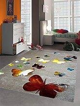 Kinderteppich Spielteppich Kinderzimmer Teppich Schmetterling Design mit Konturenschnitt Braun Beige Rot Orange Gelb Creme Schwarz Türkis Grün Größe 80x150 cm