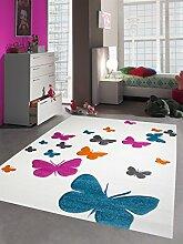 Kinderteppich Spielteppich Kinderzimmer Teppich Schmetterling Design Konturenschnitt Creme Pink Türkis Grau Orange Größe 140x200 cm