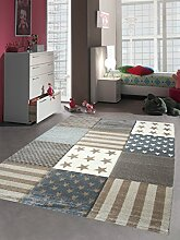 Kinderteppich Spielteppich Kinderzimmer Teppich Stern Motiv Konturenschnitt Braun Beige Creme Grau Größe 120x170 cm