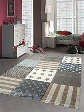 Kinderteppich Spielteppich Kinderzimmer Teppich Sterne Braun Beige Creme Grau Größe 160x230 cm