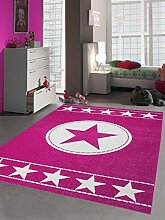 Kinderteppich Spielteppich Kinderzimmer Teppich Sternteppich Konturenschnitt in Pink Weiß, Größe 200x290 cm