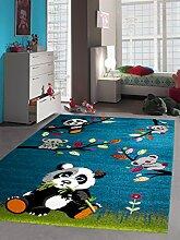 Kinderteppich Spielteppich Kinderzimmer Teppich Tiere mit Panda in Türkis Grün Grau, Größe 140 cm Quadra
