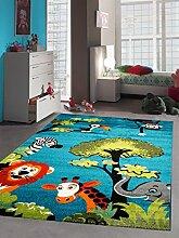 Kinderteppich Spielteppich Kinderzimmer Teppich Zootiere niedliche bunte Tiere mit Elefant Giraffe Löwe Zebra Affe Türkis Orange Grün Grau Rot Creme Schwarz Größe 80x150 cm