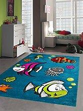 Kinderteppich Spielteppich Kinderzimmerteppich Fische Unterwasserwelt mit Konturenschnitt in Türkis Pink Grün Grau Rot Orange Creme Schwarz, Größe 120x170 cm