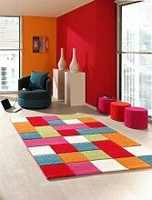 Kinderteppich Spielteppich Kinderzimmerteppich Karomuster Teppich Multicolour in Rot Türkis Orange Creme Grün Pink, Größe 200x290 cm