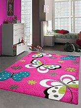 Kinderteppich Spielteppich Kinderzimmerteppich Mädchen Schmetterling pink Größe 80x150 cm