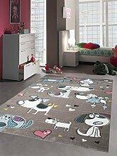 Kinderteppich Spielteppich Kinderzimmerteppich mit Hunden in Beige Grau Türkis, Größe 160x230 cm