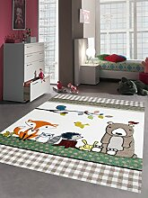 Kinderteppich Spielteppich Kinderzimmerteppich Tiere mit Bär Fuchs Hase Igel Eule Vögel in Beige Braun Orange, Größe 140x200 cm