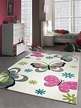 Kinderteppich Spielteppich Mädchen Schmetterling pink weiss Größe 160x230 cm
