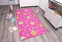 Kinderteppich Spielteppich - Mädchenteppich - Rosa - Eule - Happy Owl 0,95 x 2,00 - Polyamid - Schadstoffgeprüft - Rutschfes