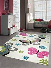 Kinderteppich Spielteppich Schmetterling Design Creme Pink Grau Grün Blau Größe 120 cm Rund